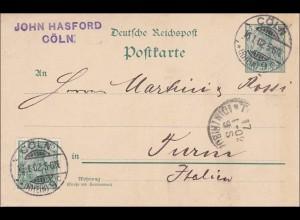 Germania: Ganzsache Postkarte von Köln nach Italien 1902