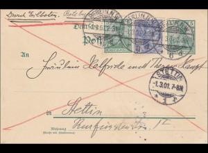 Germania: Ganzsache Postkarte von Berlin nach Stettin als Eilbote 1901