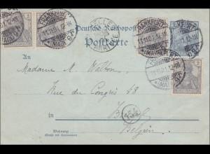Germania: Ganzsache Postkarte von Frankfurt nach Belgien 1901