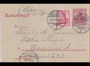 Germania: Ganzsache Postkarte von Bochum in die Schweiz 1905
