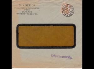 Germania: Brief Schreibwarenhandlung Berlin mit Werbung 1917