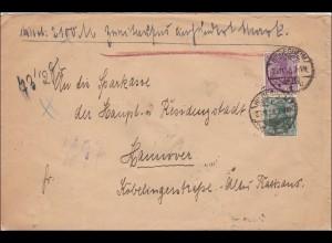 Germania: Wertbrief vorausbezahlte Zustellgebühr Hildesheim-Hannover, BPP 1918