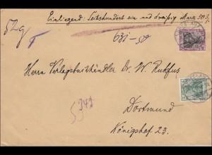 Germania: Wertbrief von Breslau nach Dortmund 1909