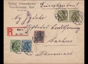 Germania: Brief Schwedisches Konsulat Kiel nach Dänemark 1921