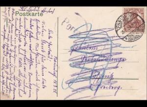 Germania: Ansichtskarte von Meissen nach Soßnitz 1920