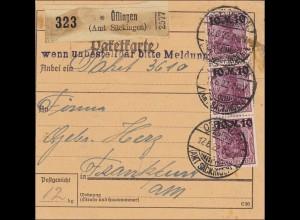 Germania: Paketkarte Öflingen-Frankfurt MiNr.157II, MeF, signiert Infla