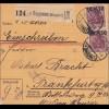 Germania: Paketkarte Gaggenau (Murgtal) -Frankfurt MiNr.157II, MeF, sign. Infla
