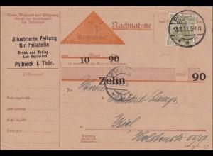 Germania: Nachnahme Postkarte Philateliezeitung Pößneg Thüringen nach Kiel 1921