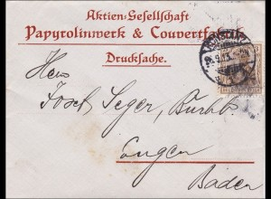 Germania: Drucksache Brief Papyrolinwerk nach Engen 1913