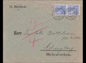 Germania: Brief von Lübeck nach Schweden 1902, MiNr. 57 MeF