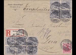 Germania: Einschreibe Brief von Dresden nach Gera 1908