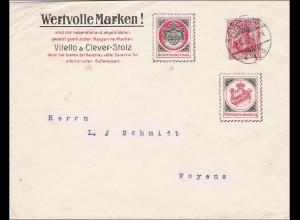 Germania: Brief mit Werbung Buttersalz/Margarinemarken von Flensburg nach Woyens