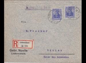 Germania: Brief Einschreiben Lüdenscheid nach Zürich