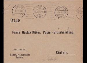 Germania: Postsache Brief Postscheckamt Hannover nach Rinteln 1914