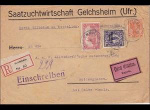 Germania: LANDZUSTELLUNG: Brief Saatzuchtwirtschaft Gelchsheim-Gottesgnaden 1921