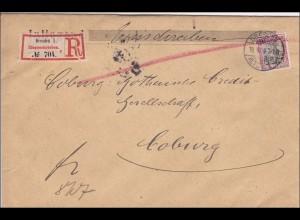 Germania: Einschreibebrief Dresden nach Coburg 1904
