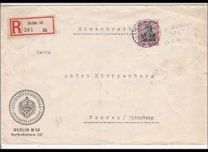 Germania: R-Bf Reichsgetreidestelle Berlin nach Freren/Oldenburg 1916, Perfin