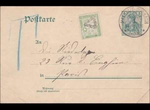 Germania: Ganzsache von Malstadt-Burbach 1909 ins Ausland - Nach Taxe