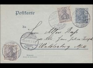Germania: Ganzsache-Postkarte im Ortsverkehr Woldenberg 1906