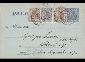 Germania: Ganzsache-Postkarte von Schwäbisch Hall nach Paris 1902