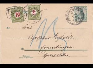 Germania: Ganzsache-Postkarte von Friedrichshafen in die Schweiz 1902