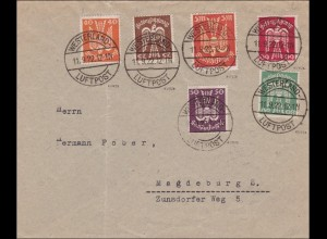 Infla: MiNr. ex 210-218 mit Stempel Westerland/Luftpost 1922
