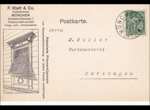 Infla: Postkarte von München nach Nürtingen 1923 - Gurtenweberei
