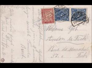 Infla: Ansichtskarte von Trier nach Frankreich mit Nachgebühr 1922