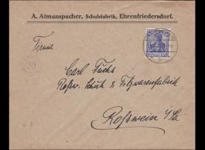 Germania: Brief Schuhfabrik Ehrenfriedersdorf nach Rostwein 1920