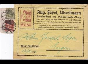 Germania: Drucksache Großbrief - Ausschnitt von Überlingen 1921