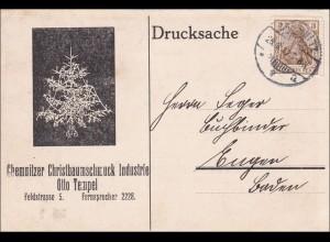 Germania: Drucksachen Karte von Chemnitz - Christbaumschmuck 1912