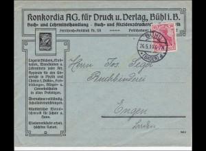 Germania: Brief von Bühl - Buchhandlung - nach Engen 1914