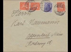 Infla: Brief von Bleichenbach nach Offenbach 1922, MiNr. 149aI !!!