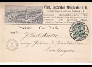 Germania: 1910 Postkarte Württ. Holzwaren aus Esslingen nach Nürtingen, Perfin