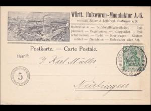 Germania: Postkarte Württ. Holzwaren aus Esslingen nach Nürtingen 1910, Perfin