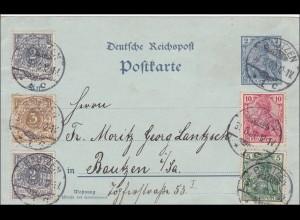 Germania: Ganzsache von Bautzen 1900
