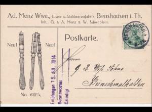 Germania: Postkarte Eisen- und Stahlwaren Benshausen 1914