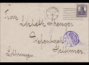 Germania: Brief von Bielefeld - Geprüft - nach Hellimer/Lothringen