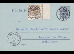 Germania: Postkarte von Zittau nach Jonsdorf -Schulhaus - Marke im Eckrand 1903