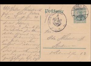Germania: Postkarte von Posen nach Berlin 1914