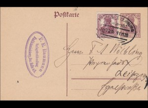 Germania: Postkarte aus Bad Schmiedberg mit Bahnpoststempel 1920