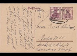 Germania:Postkarte Bad Schwartau, Bahnpoststempel Hamburg-Stettin - Berlin 1920