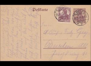 Germania: Postkarte aus Ilmenau nach Dresden 1921
