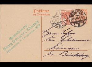 Germania: Ganzsache aus Bielefeld 1919