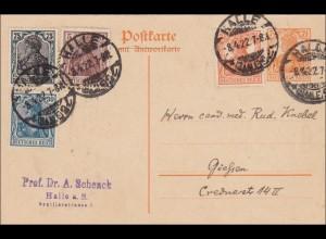 Germania: Ganzsache aus Halle nach Gießen 1922