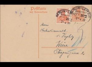 Germania: Ganzsache gestempelt mit Bahnpoststempel Berlin-Leipzig 1923