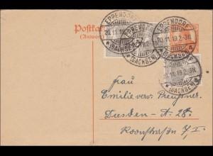Germania: Ganzsache von Eppendorf nach Dresden 1919