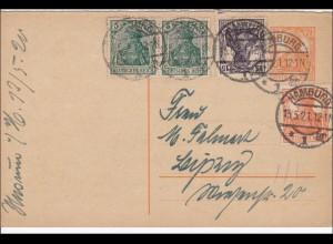 Germania: Ganzsache von Hamburg nach Leipzig 1922