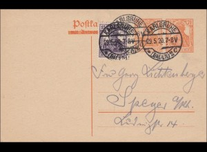 Germania: Ganzsache von Karlsruhe nach Speyer 1920