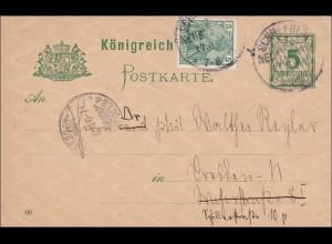 Germania: Ganzsache von Schneeberg nach Berlin 1901